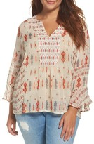 Lucky Brand Plus Size Women's Mix Print Boho Top