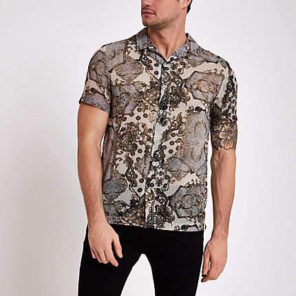 River Island Mens Ecru print short sleeve sheer shirt