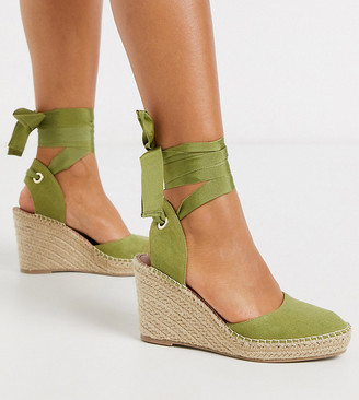 ASOS DESIGN Wide Fit Time espadrille wedges in khaki