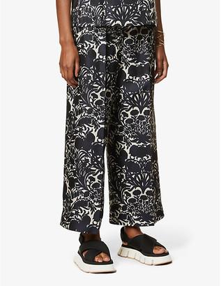 S Max Mara Cavour floral-print wide-leg high-rise silk-satin trousers