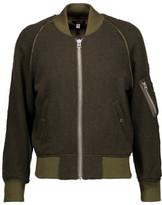 R 13 Shrunken Frayed Satin-Trimmed Wool-Blend Bomber Jacket