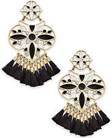 Kate Spade Gold-Tone Black Tassel Chandelier Earrings