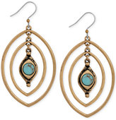 Lucky Brand Gold-Tone Turquoise-Look Stone Triple Hoop Earrings