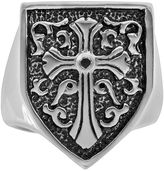 Black Diamond Stainless Steel & Black Immersion-Plated Stainless Steel Accent Cross & Shield Ring - Men