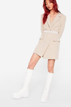 Nasty Gal Womens Faux Leather Calf High Cleated Wellie Boots - White