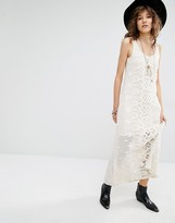MANGO Premium Lace Maxi Dress with Low Back