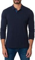 Jared Lang Long-Sleeve Cotton-Blend Polo Shirt, Navy