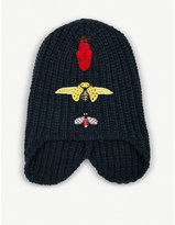 Gucci Cusco Bug-embroidered Knitted Wool Hat