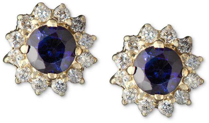 Effy Royalty Inspired by Sapphire (5/8 ct. t.w.) and Diamond (1/4 ct. t.w.) Round Stud in 14k Gold, Created for Macy's