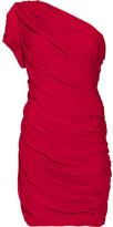 Halston Heritage Shirred silk one-shoulder dress