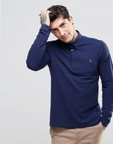 Farah Polo Shirt With Long Sleeves In Slim Fit Navy