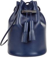 Building Block Navy Leather Tassel Bucket Bag