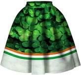 F style Women 3D Printed Green Shamrock Skirts High Waist Flared Pleated Skirt