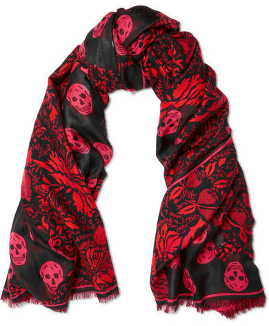 Alexander McQueen Printed Silk And Wool-blend Scarf - Black