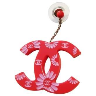 Chanel CC Red Plastic Earrings