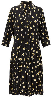 Norma Kamali Floral-print Jersey Shirt Dress - Black Print