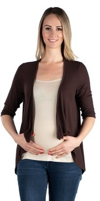 24/7 Comfort Apparel 24seven Comfort Apparel Elbow Length Sleeve Maternity Open Cardigan