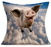 Highpot 4343cm / 3050cm Unique Creative Flying Pigs Patterns Throw Pillow Case Sofa Chair Car Office Home Decorative Cushion Cover (A / Square)