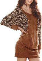 Allegra K Women Fall Winter Leopard Studs Batwing Bodycon Dress