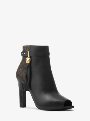 MICHAEL Michael Kors Winslow Leather and Logo Open-Toe Ankle Boot