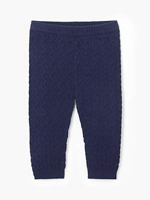 John Lewis & Partners Baby Cable Knit Leggings, Navy