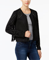William Rast Hazel Faux-Suede Studded Fringe Jacket