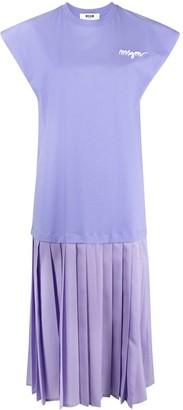 MSGM pleated T-shirt dress