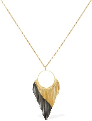 Iosselliani Long Necklace W/ Fringed Hoop Pendant