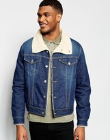 Love Moschino Denim Jacket Shearling Collar