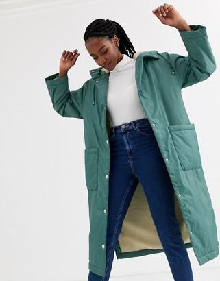 ASOS DESIGN maxi fleece lined rainwear coat in sage