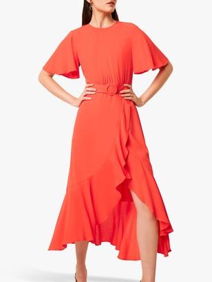 French Connection Emina Drape Midi Dress, Poppy Red