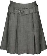 Pleated Twill Skirt W/ Belt