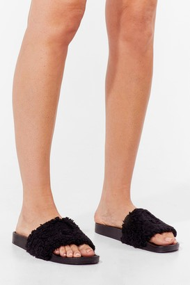 Nasty Gal Womens Whenever You're Teddy Faux Fur Sliders - Black - 3