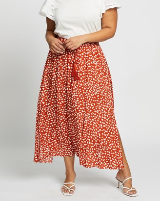 Atmos & Here Atmos&Here Curvy - Women's Red Midi Skirts - Domanique Midi Skirt - Size 18 at The Iconic