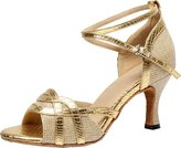Arboo Q-7027 Womens Latin Tango Ballroom Dance Party wedding Peep-toe PU Dance-shoes M US Size6.5