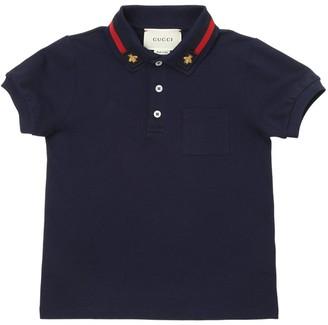 Gucci Cotton Pique Polo Shirt W/ Web Detail