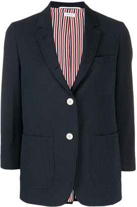 Thom Browne Seersucker Cropped-Sleeve Blazer