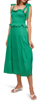 ASTR the Label Promenade Smocked Bodice Midi Dress