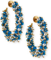 Oscar de la Renta Glossy Beaded Hoop Earrings