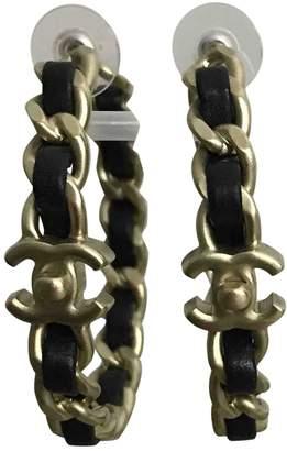 Chanel CC Black Leather Earrings