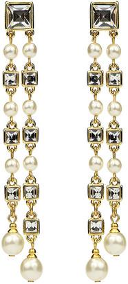Ben Amun Glass Double-Drop Clip Earrings