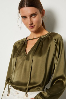 Karen Millen Silk Satin Tie Neck Long Sleeve Top