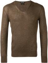 Tom Ford ribbed V-neck jumper - men - Silk/Cashmere - 48