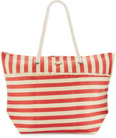 Capelli of New York Rope-Handle Nautical-Stripe Straw Tote Bag, Red/White