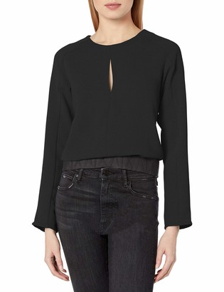 A|X Armani Exchange Women's Scoop Neck Blouse with Keyhole Detail on Bust and Waistband