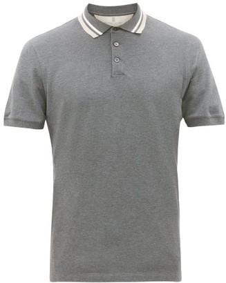 Brunello Cucinelli Striped-collar Cotton-pique Polo Shirt - Mens - Charcoal
