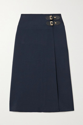ÀCHEVAL PAMPA Volada Leather-trimmed Woven Wrap Skirt - Navy