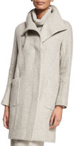Ralph Lauren Black Label Long-Sleeve Textured Coat, Pale Gray Melange