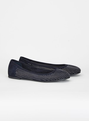 Evans EXTRA WIDE FIT Navy Diamonte Perforate Ballerina Pumps