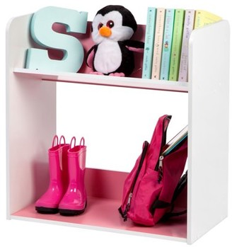 Iris Usa IRIS 2-Tier Tilted Shelf Book Rack, Pink and White
